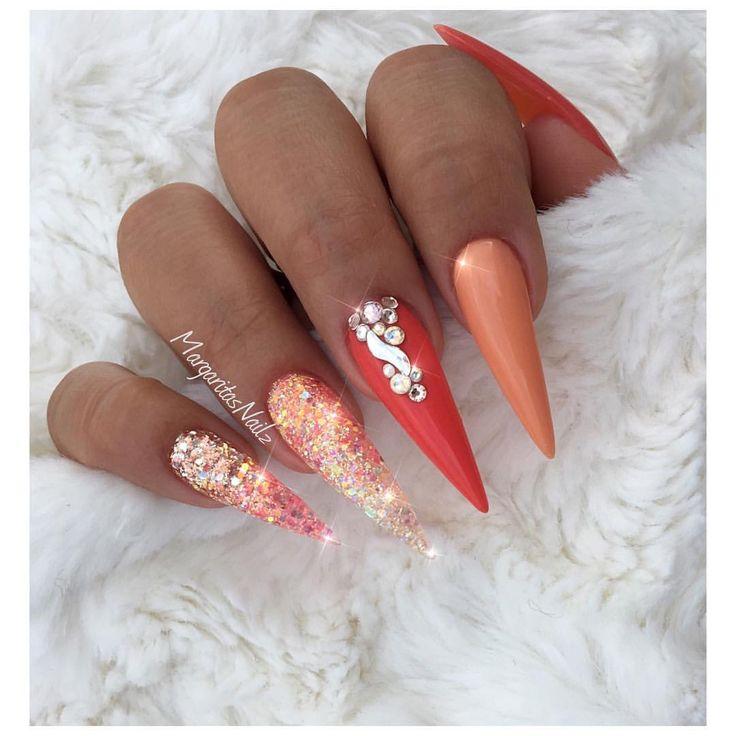 Coral summer stiletto nails Glitter ombré nail art design nails #glitter #stilettonails #nailart #MargaritasNailz #vetrogel#coralnails #nailfashion#glitternails#naildesign #nailswag#hairandnailfashion#nailedit #nailprodigy#nailpromagazine #nailsofinstagra