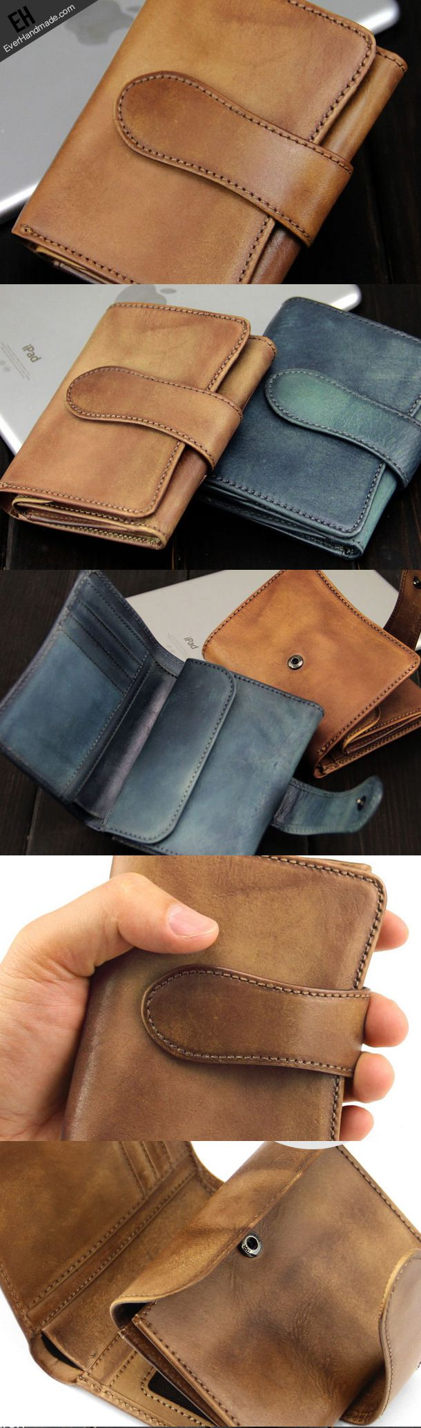 Handmade men short leather wallet men vintage green brown short wallet for him-SR