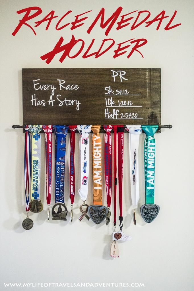 Race Medal Holder: A simple solution for all your medals. This Race Medal Holder has a place for medals and PR times. A must have for every runner.