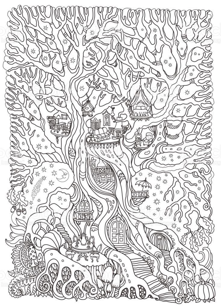 Vector Hand Drawn Fantasy Old Oak Tree With Fairy Tale House With Toy Detailed Coloring Pages Enchanted Forest Coloring Coloring Pages