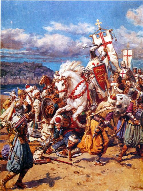 Richard Lionheart at the Battle of Acre by Fortunino Matania.