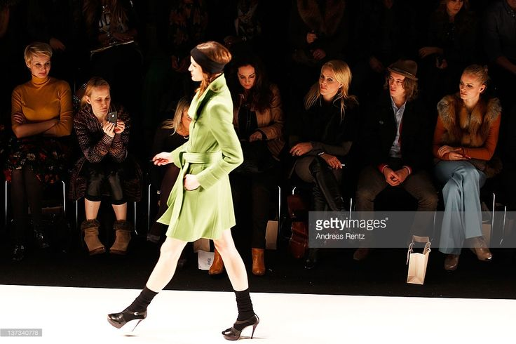 Susann Atwell, Natalia Woerner, Judith Rakers, Pierre Sarkozy and Franziska Knuppe attend the Autumn/Winter 2012 fashion show during Mercedes-Benz Fashion Week Berlin at Brandenburg Gate on January 19, 2012 in Berlin, Germany.