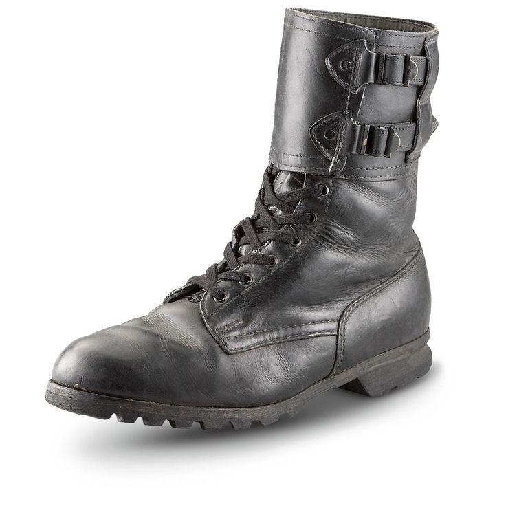 Botas de cuero usados Excedente militares Checa, Negro
