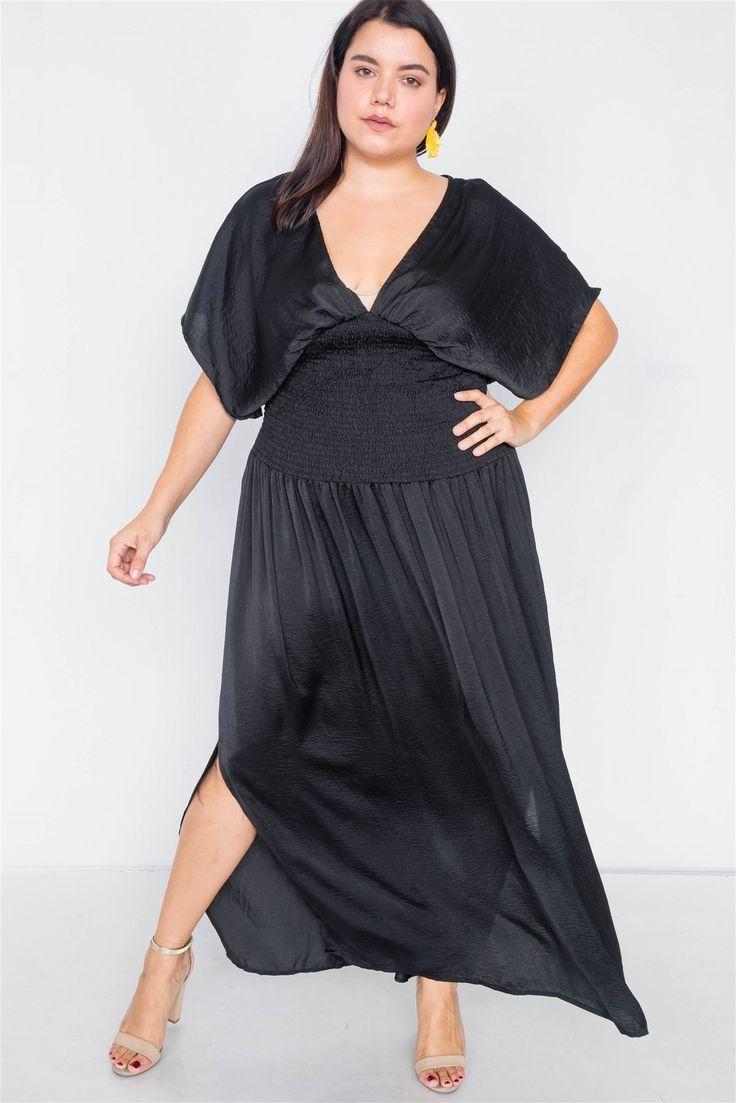 Plus size vneck satin kimono sleeve maxi dress in 2020