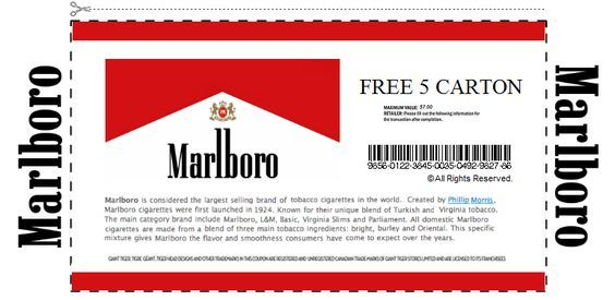 graphic relating to Printable Marlboro Coupons named Pin upon Marlboro discount coupons