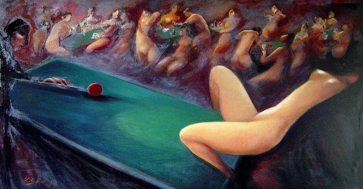 """Billiards №2"" oil on canvas, 120x75"