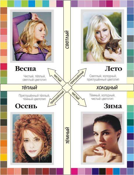 Схема, как определить цветотипы внешности