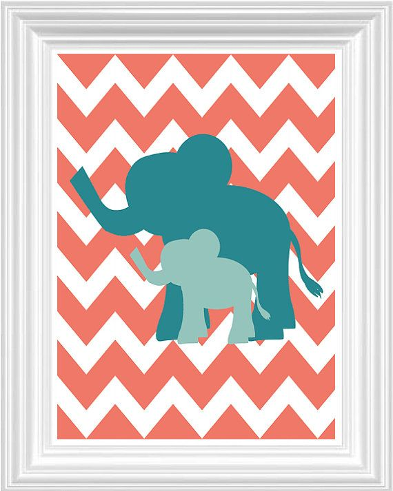 totally buying for the baby room. :)  Elephant Nursery Art  Safari Kids room Coral by FMDesignStudio, $15.00