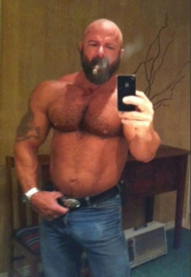 Big Muscle Dad Takes A Cigar Smoking Hot Selfie  Selfies -4863