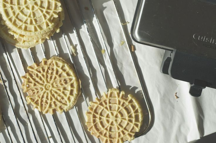 recipe for pizzelles up on less with bread! pretty enough to bring to any christmas party and so easy to make. find the recipe on www.lesswithbread.me
