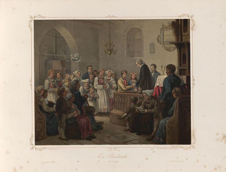 Norske Folkelivsbilleder 10 - En Brudevielse (Knud Bergslien). jpg (1280×974)