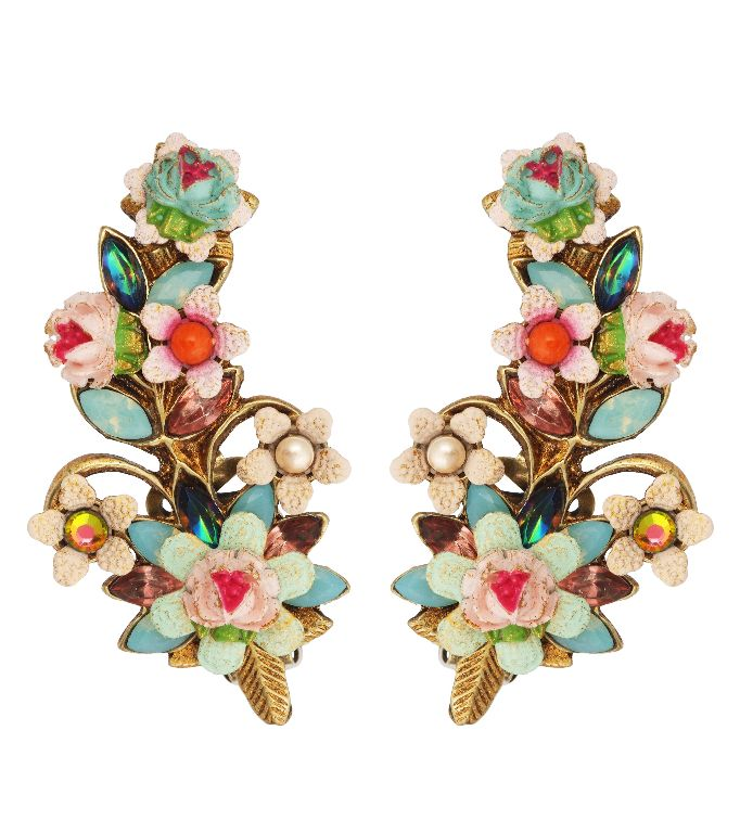 Michal Negrin Jewelry | Michal Negrin Jewelry Crystal Flower Clip On Earrings | Michal Negrin