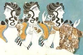 89 - CRETA 07 - Cánones de la Pintura Cretense. Los seres humanos tienen cuerpos largos, con una cintura muy delgada que subraya su elegancia, como se aprecia en la presente ilustración. Las mujeres traen el busto descubierto y faldas de olán, peinados complicados con muchos rizos, narices largas y delgadas.