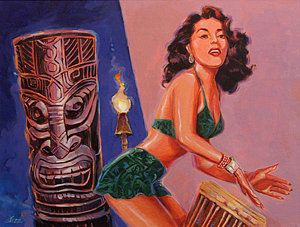 Tiki Tarts- She's Gone With The Hula Hula Boys Print by Shawn Shea