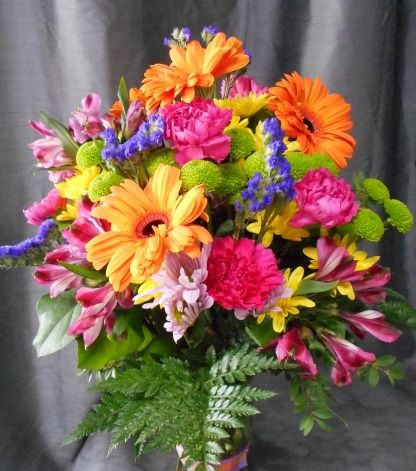 bright colourful mix flower arrangement perfect for a birthday