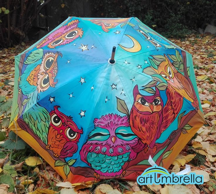 Christmas Gift - Colorful hand painted Umbrellas with Owls Family in blue with Moon and green leafs by Artumbrella on Etsy