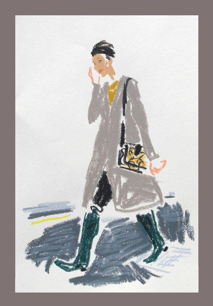 London Fashion Week snap sketch by DAMIEN FLORÉBERT CUYPERS