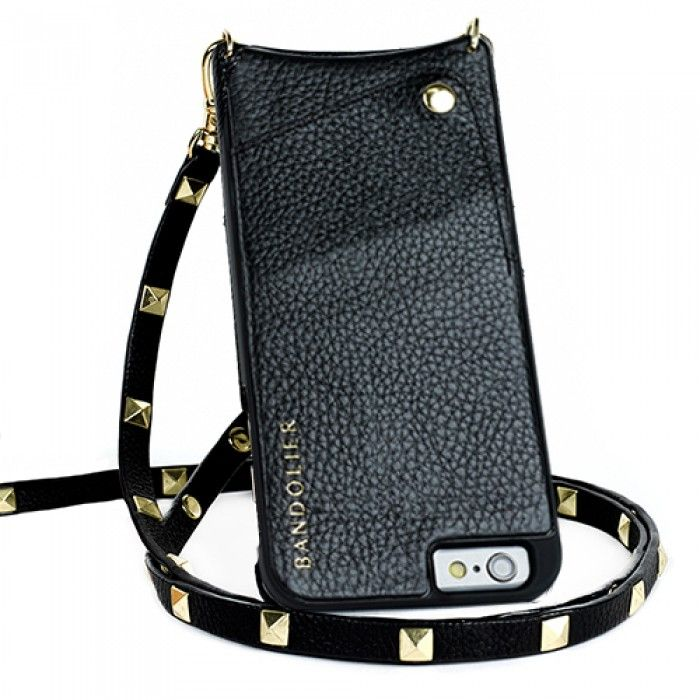 Sarah Black Leather & Gold iPhone Accessory Case Strap | Bandolier