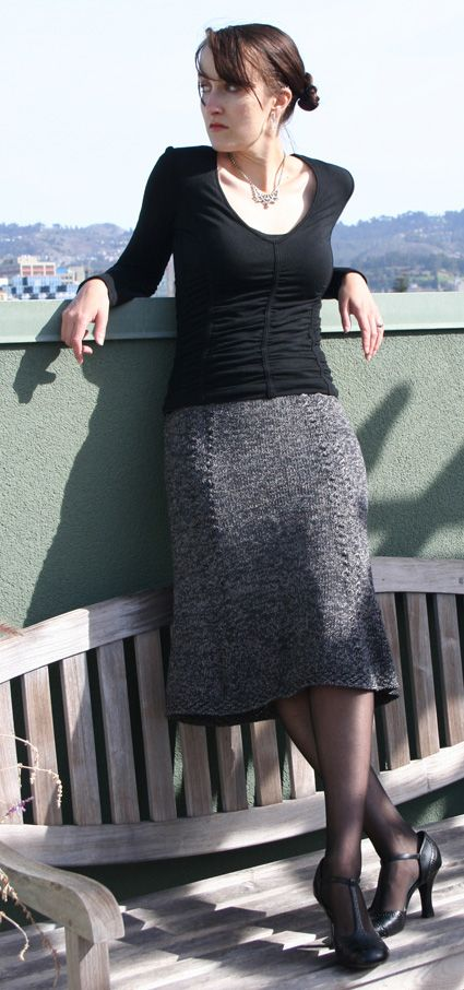 Beautiful Bell Curve skirt from Knitty; would look gorgeous in slate or black yarn.