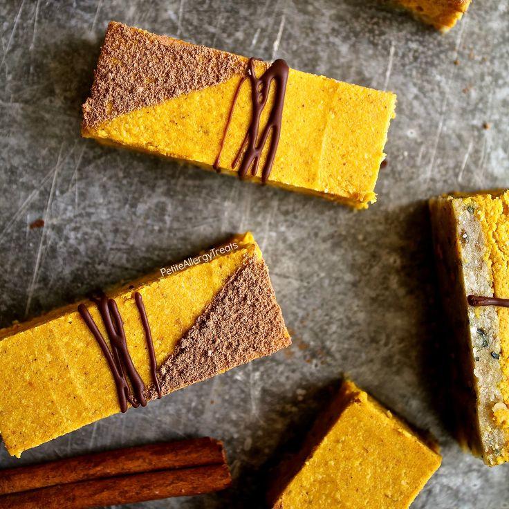 Gesunde Raw Glutenfrei Pumpkin Pie Bars Rezept (Vegan Milch Losmutter frei) - No-Bake rohen Balken gefüllt mit echten Kürbis, Kokosbutter, Datteln und Hanfsamen.  Raffinierter Zucker frei.  Lebensmittel-Allergie-freundlich