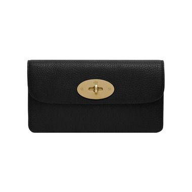 Mulberry Timeless and Elegant Gifts - Long Locked Purse in Black Natural Leather With Brass