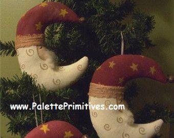 Crescent Moon Santa Spoon Ornament RESERVED by CyndiMacsNickKnacks