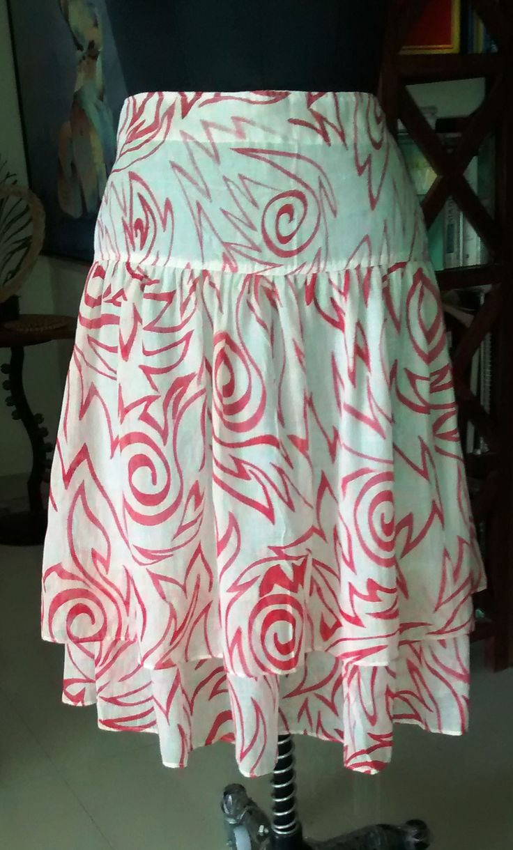 Double layer summer skirt in 100% cotton, lined