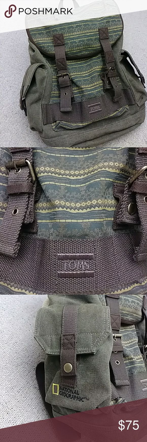 Toms Rare Canvas Safari Backpack Excellent perfect condition Toms very rare canvas safari backpack. National Geographic limited edition with beautiful wild cat images on the inside flap. Toms Bags Backpacks