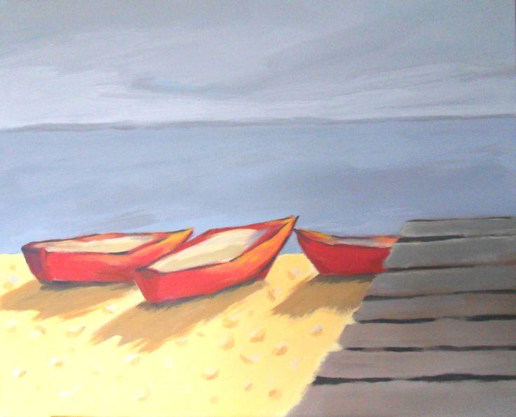 """Krystyna Małecka, """"Przystań"""", akryl na płótnie, 66x81 cm"""