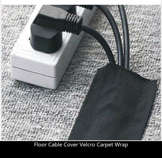 2.5mtr pack - 75mm Black Strong Floor Cable Cover Protection with hook velcr of Carpet Wrap