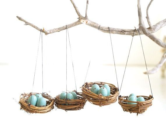 Nest Christmas Ornaments Blue Eggs Tree Decorations natural nature in ...