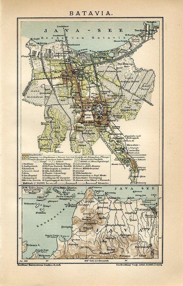 1899 INDONESIA JAKARTA BATAVIA Antique Map dated