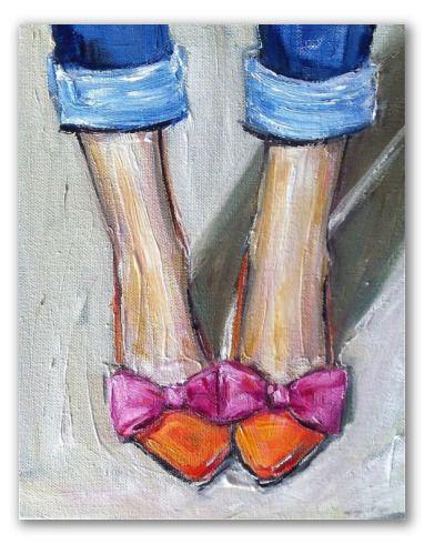 """Obra al óleo """"Zapatitos chic"""" - Composición muy chic que muestra un par de pies femeninos con su zapatitos y vaqueros remangados, mirados de frente.  Obra al óleo realizada con colores pastel y líneas simples. Este diseño es femenino, diferente y gracioso."""