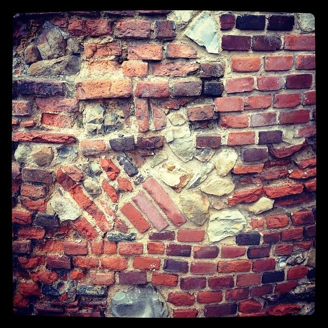 Amazing patterned collection of brick roman rumble and stone that make up the back walls of our 18th Century Gothic Folly. Built in 1745.