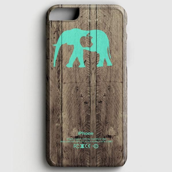 Mint Chevron Elephant On Dark Wood Background iPhone 7 Case