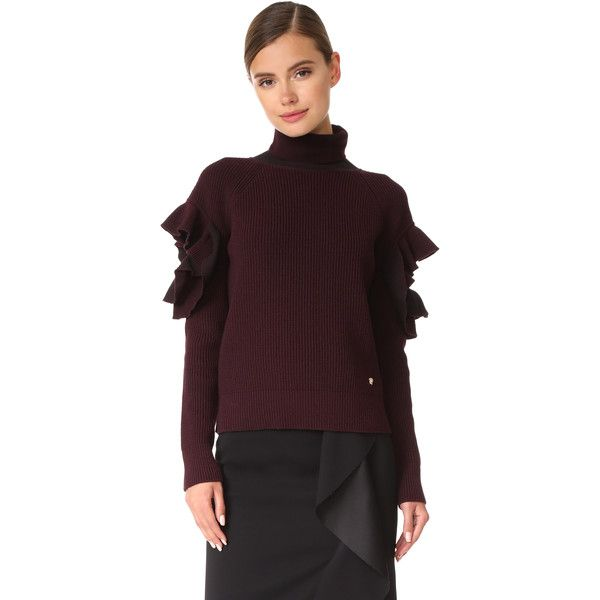 Versace Ruffle Arm Sweater ($1,010) ❤ liked on Polyvore featuring tops, sweaters, burgundy, cut out sweater, ruffled sweaters, cutout sweaters, versace sweater and brown sweater