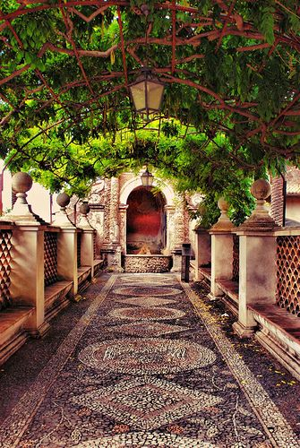 Greenery covered mosaic walkway at Villa d'Este (Tivoli, Lazio, Italy). Simply Paradice