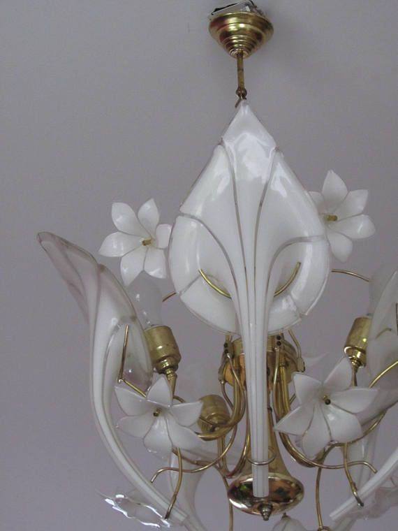 Vintage Murano Glass Calla Lily Lamp Etsy In 2020 Murano Glass Floral Chandelier Flower Chandelier