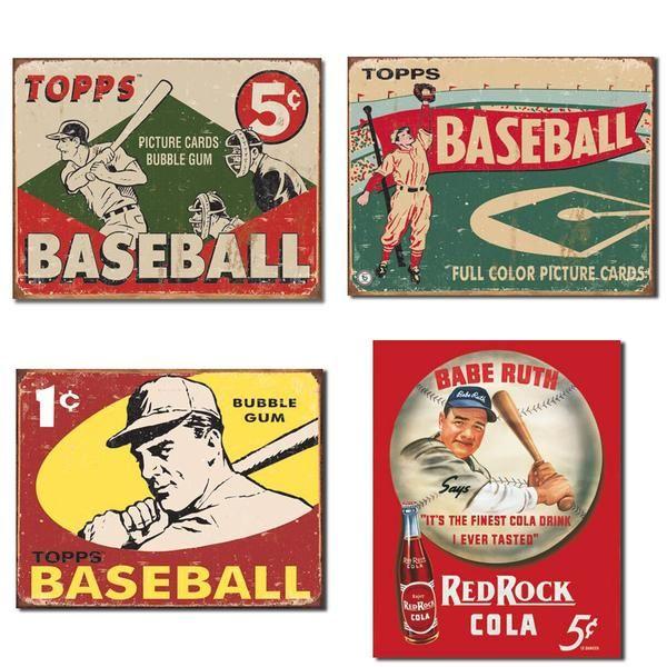 Vintage Baseball Tin Sign Bundle Baseball Posters Vintage Baseball Vintage Baseball Decor