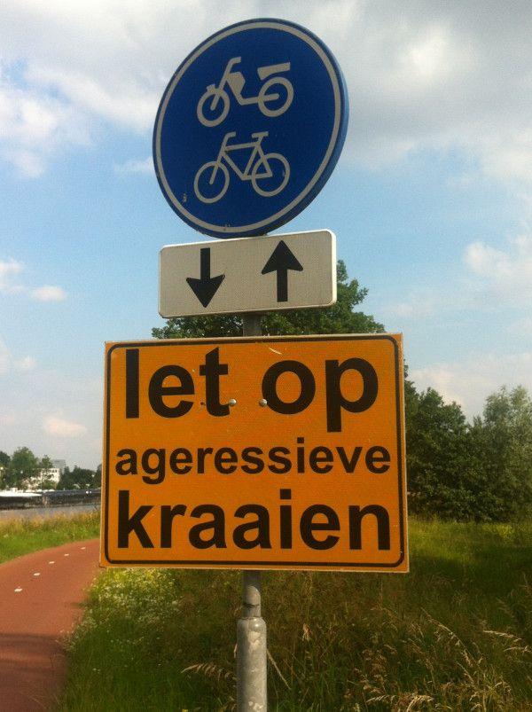 @marrije vogels zijn gevaarlijk, vind zelfs de gemeente, kijk maar naar dit bord bij Papendorp