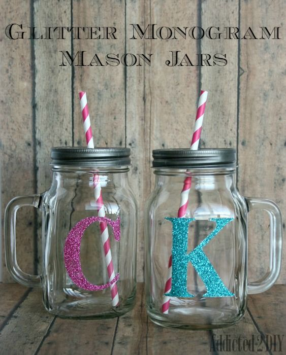 Create fun and personalized glittered mason jars as gifts for friends and family. Even make one for yourself!