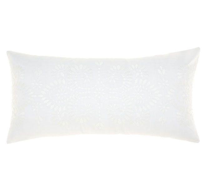Linen House Naturals Rosie 30x60cm Filled Cushion White