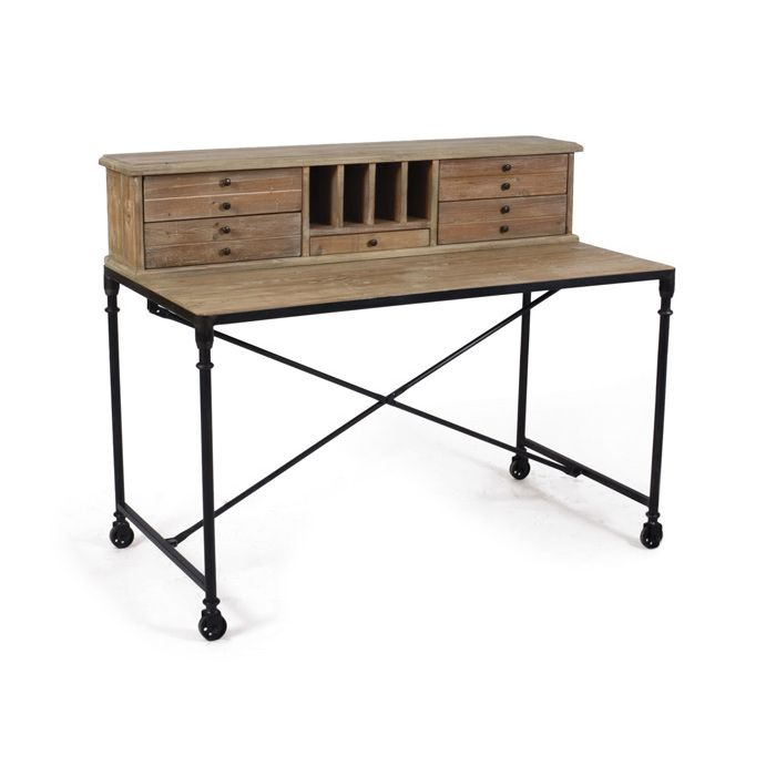 Work on your industrial style with this rugged, inspiring desk. Slim cross bars…