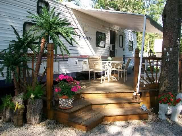 227 best mobile home porch designs images on pinterest for Rv outdoor decorating ideas