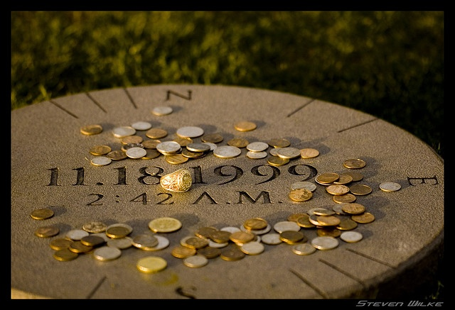 Bonfire Memorial on the Texas A&M Campus, where the center pole once stood, with Aggie Ring