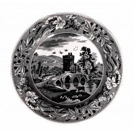 PLATE LUCANO 27CM Vintage plate, Lucano design, by Spode England, 27cm. Lucano design features the Lucano bridge inspired by the Italian countryside. Bridge of Lucano pattern was introduced by Spode approximately in 1819 and has a wonderful grape vine and wheat border