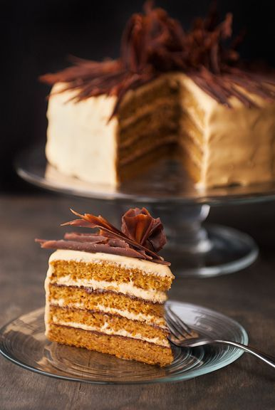 pumpkin cake with chocolate ganache and salted caramel cream cheese frosting