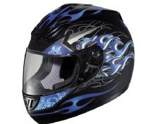 Check out Hawk Flamma Blue and Black Matte Full Face Helmet on LeatherUp.com!