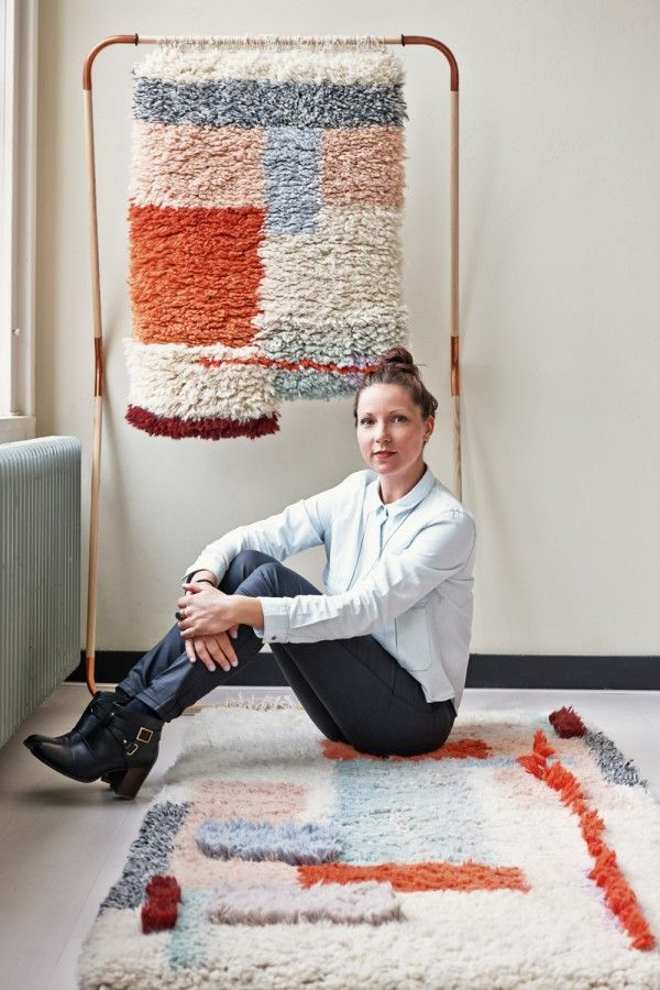 "Mae Engelgeer, textile designer -- Yeah Rug ___ ""Inspired by the Berber and Boucherouite style carpets with knotted and heavy wool feel..."""