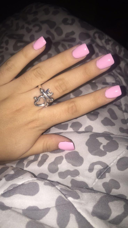 Light pink short acrylics. | NAILS | Square acrylic nails ...